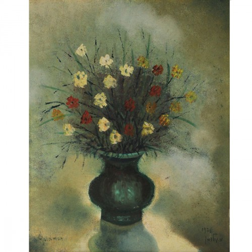 albert goldman israel 1922 2011 flower vase painting oil on canvas mounted on board 1976 - Vase Painting